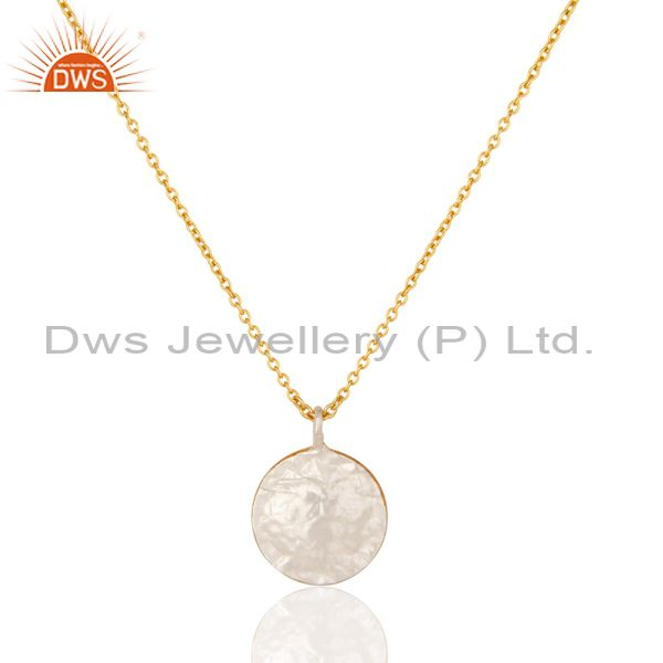 Exporter 22K Gold Plated Handmade White Zirconia Brass Chain Pendant Necklace