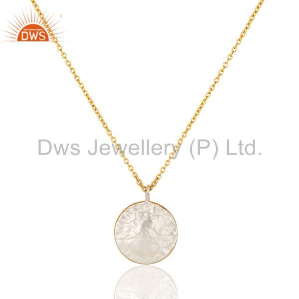 Exporter 22K Gold Plated Traditional Handmade Round Design Brass Chain Pendant Necklace