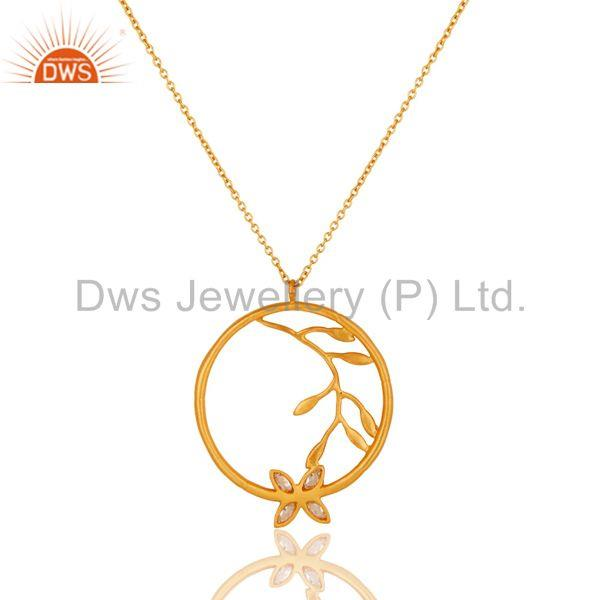 Exporter 18k Yellow Gold Plated Flower Design White Zirconia Brass Chain Pendant Necklace
