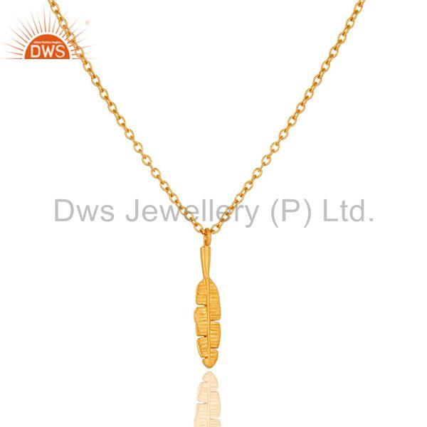 Exporter 22k Yellow Gold Plated Nice Banana Leaf Design Brass Chain Pendant Necklace