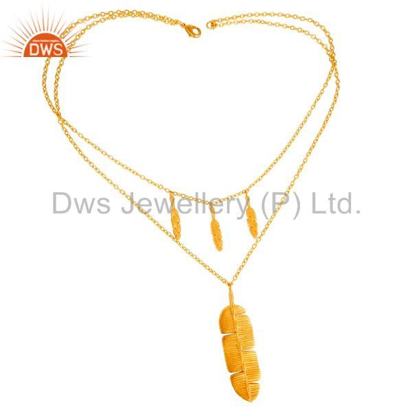 Exporter Handmade Leaf Design Gold Plated Fashion Pendant Necklace Jewelry