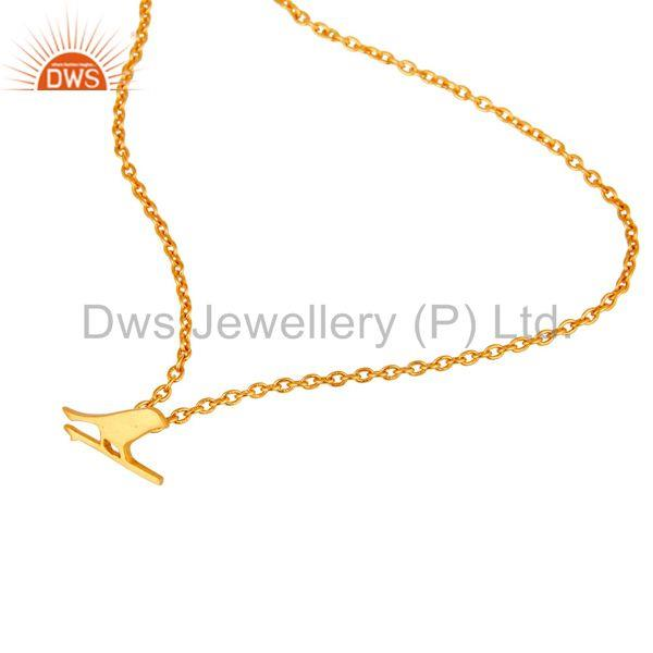 Exporter 22K Yellow Gold Plated Handmade Bird Design Brass Chain Pendant Necklace