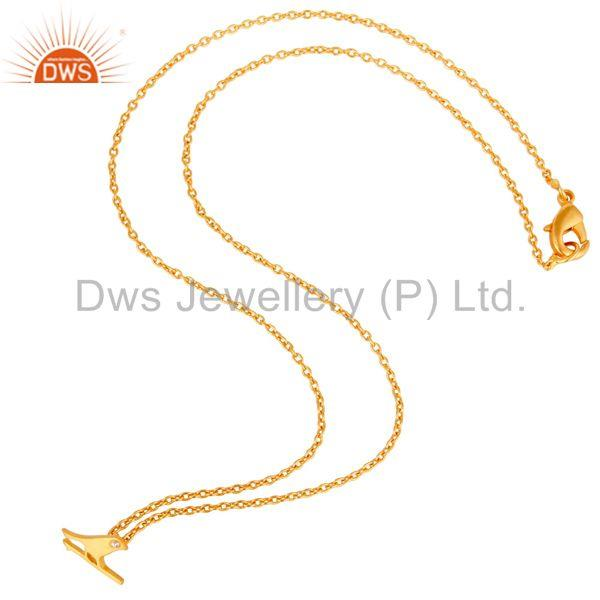 Exporter 18K Yellow Gold Plated Handmade Bird Design Brass Chain Pendant Necklace
