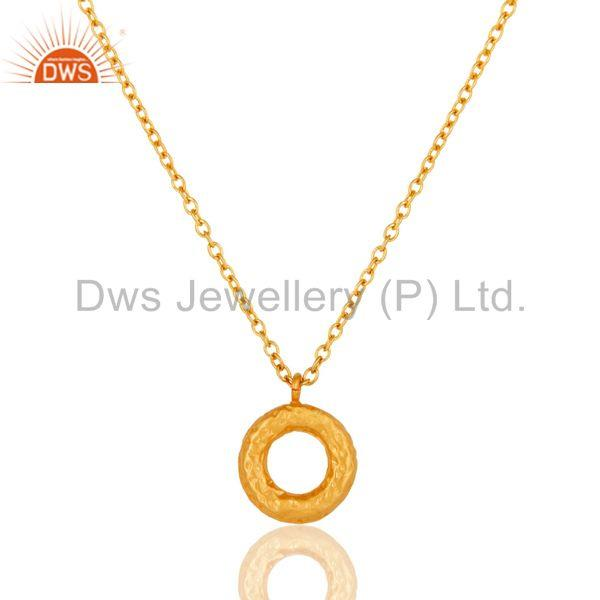 Exporter 18k Gold Plated Beautiful Round Cut White Zirconia Over Brass Chain Pendant