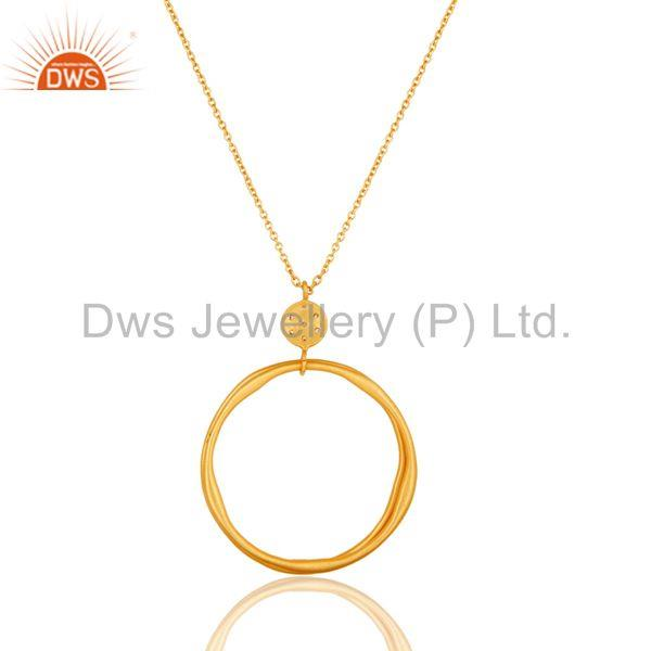 Exporter 18k Yellow Gold Plated Fashion Round Cut White Zircon Brass Chain Pendant
