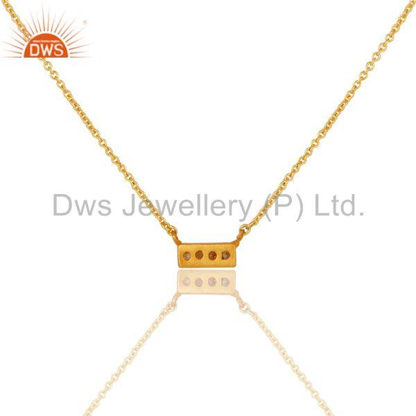 Exporter Simple Bar Design Handmade Gold Plated Brass Fashion Chain Pendant