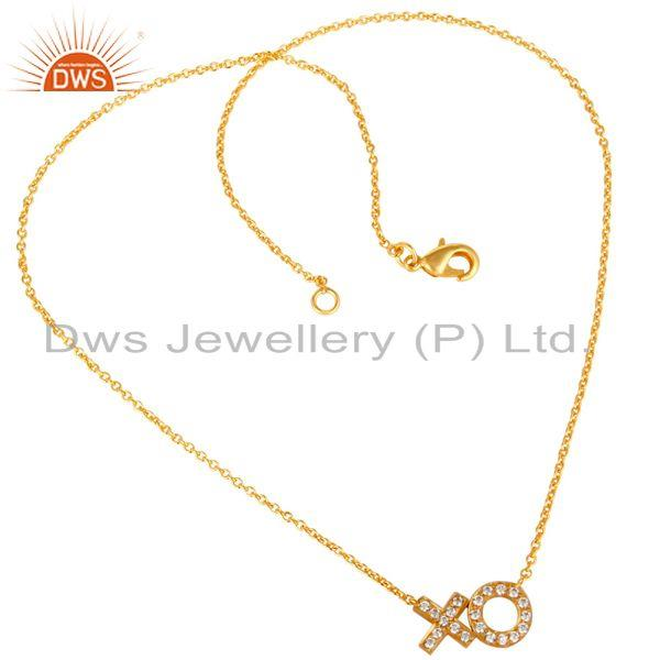 Exporter Xo Design White Zircon Gold Plated Brass Fashion Chain Pendant Jewelry
