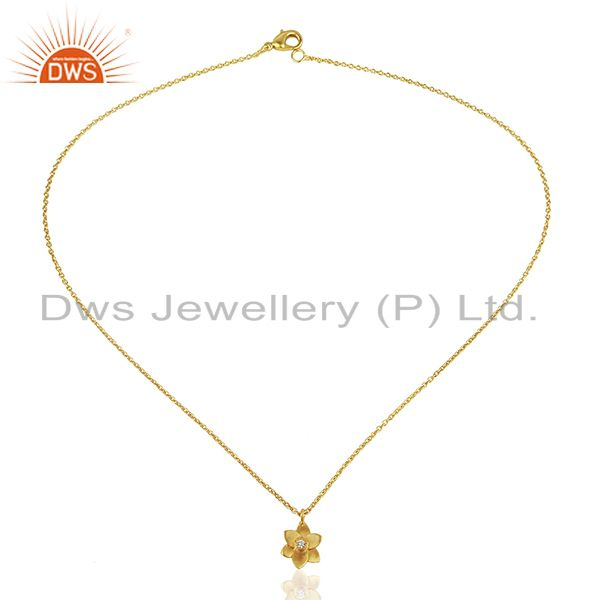 Exporter 22K Yellow Gold Plated Handmade Flower Design White Zirconia Brass Chain Pendant