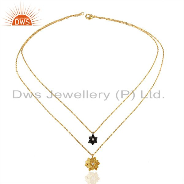 Exporter Traditional Handmade 22K Gold Plated Little Lotus Design Brass Chain Pendant