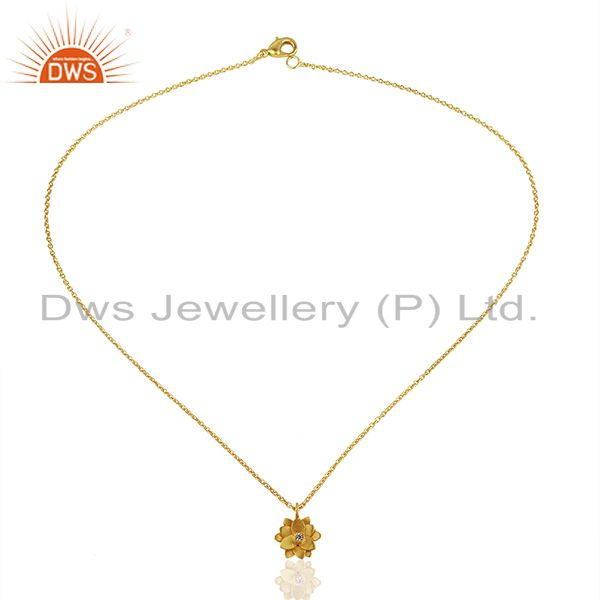Exporter Good Look Flower Design White Zirconia Brass Chain Pendant With 18k Gold Plated
