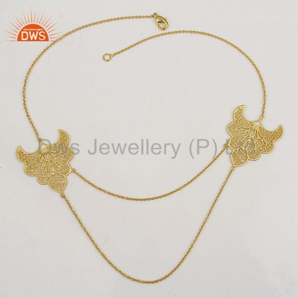 Exporter Traditional Handmade Art Design 18K Gold Plated Chain Necklace Jewellery