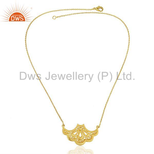 Exporter 18K Gold Plated Traditional Handmade Art Fan Design Brass Chain Pendant Necklace