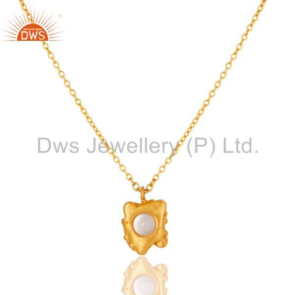 Exporter 18k Gold Plated Good Look Little Charm Pearl Brass Chain Pendant