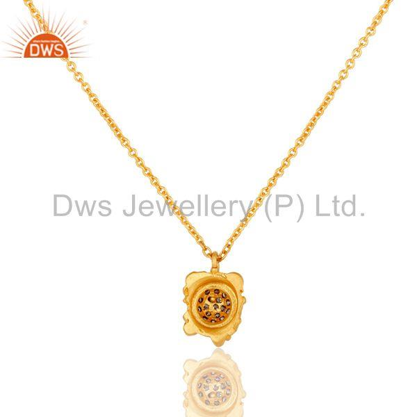 Exporter 18k Gold Plated Good Look Little Charm White Zirconia Brass Chain Pendant