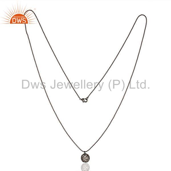 Exporter Classic Fashion Style Black Oxidized White Zirconia Brass Chain Pendant Necklace