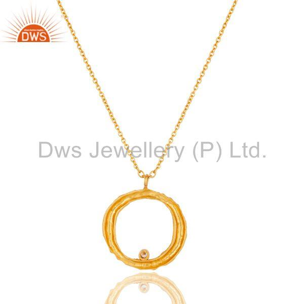 Exporter Handmade White Zirconia Simple Setting Brass Chain Pendant With 18k Gold Plated