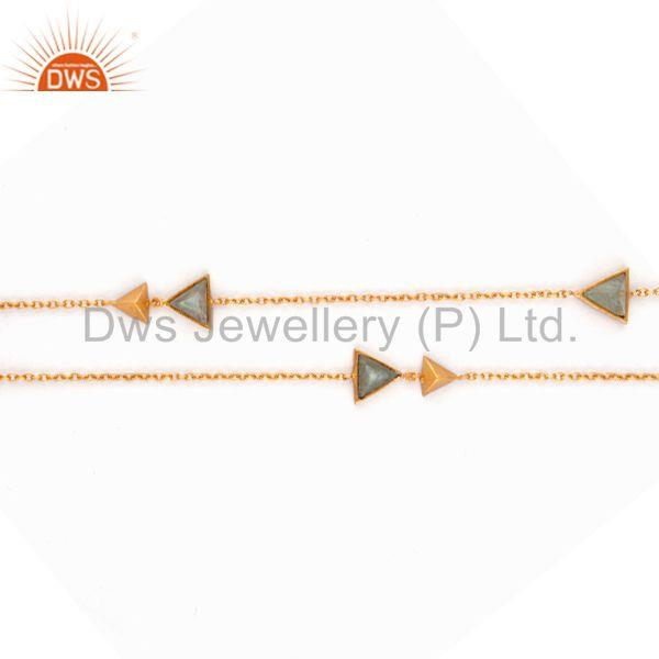 Exporter Triangle Design Gemstone Gold Plated Brass Fashion Chain Necklace