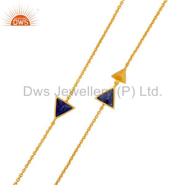 Exporter 22K Gold Plated Handmade Lapis Lazuli Gemstone Brass Chain Necklace