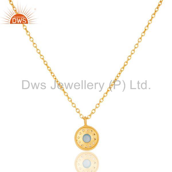 Exporter Chalcedony & White Zirconia Charm Little 18k Gold Plated Brass Chain Pendant