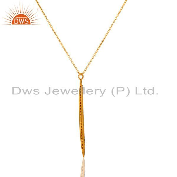 Exporter 18k Gold Plated White Zirconia Hot Simple Thin Brass Chain Pendant Necklace