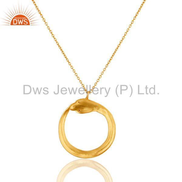 Exporter Beautiful Round Brass Chain Pendant With 18k Gold Plated & White Zirconia