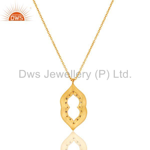 Exporter Beautiful Fashio Vintage Brass Chain Pendant With 18k Gold Plated & White Zircon
