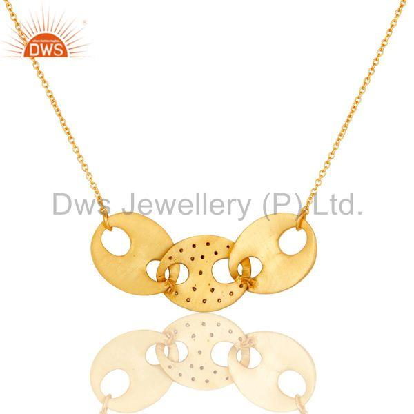 Exporter Traditional Bazel Set Brass Chain Pendant With 18k Gold Plated & White Zircon
