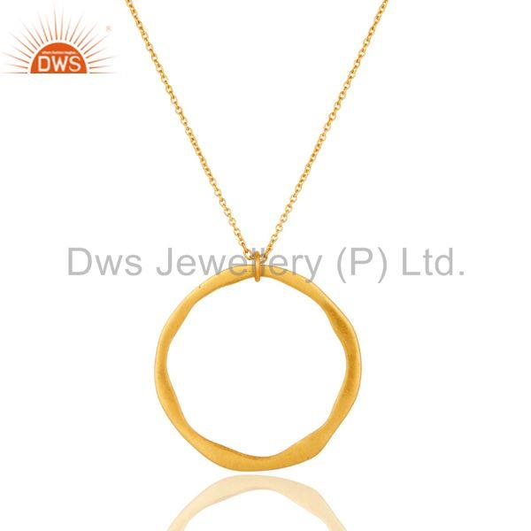 Exporter Traditional Handmade 18k Gold Plated Simple Fashion Round Brass Chain Pendant