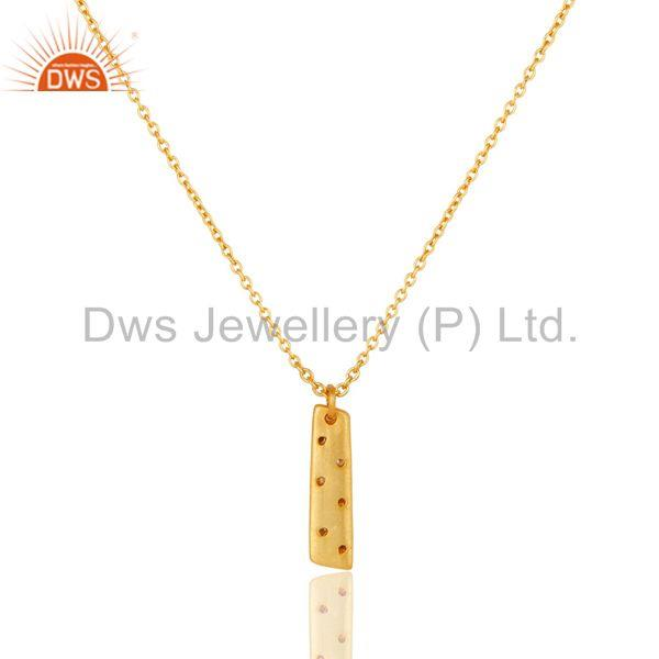 Exporter 18K Yellow Gold Plated Traditional Handmade Charm Brass Chain Pendant Neklace