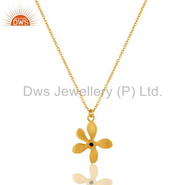 Exporter 18k Gold Plated Natural Green Onyx Handmade Flower Style Brass Chain Pendant