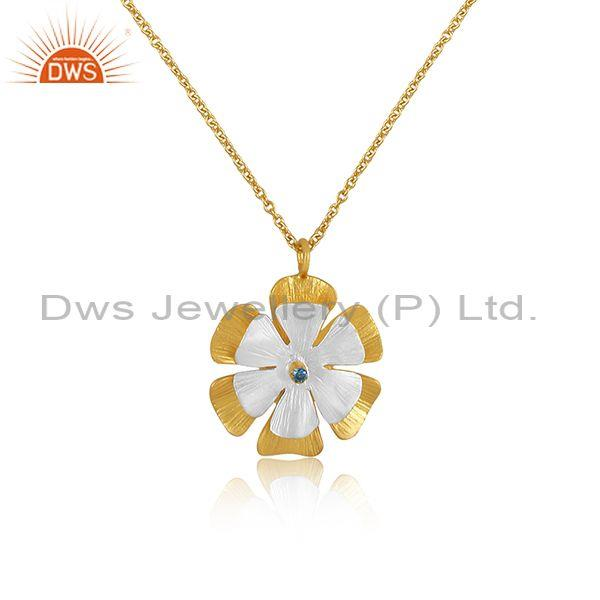 Zircon swiss blue topaz floral brass gold pendant and chain