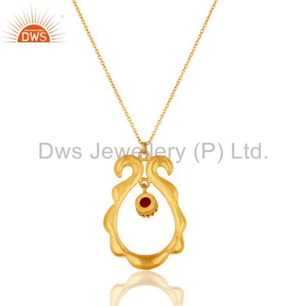 Exporter 18k Gold Plated Vintagle Temple Style Brass Chain Pendant With Naturl Red Onyx