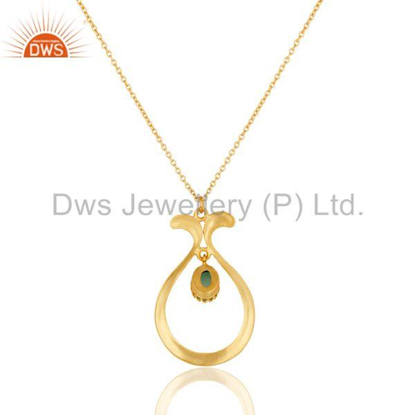 Exporter 18K Yellow Gold Plated Handmade Cultured Aqua Brass Chain Pendant Necklace