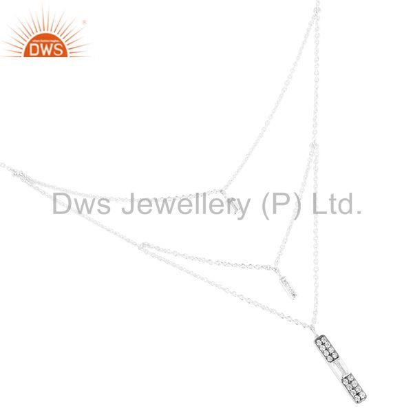 Exporter Solid 925 Silver Plated Traditional Handmade White Zircon Brass Chain Necklace