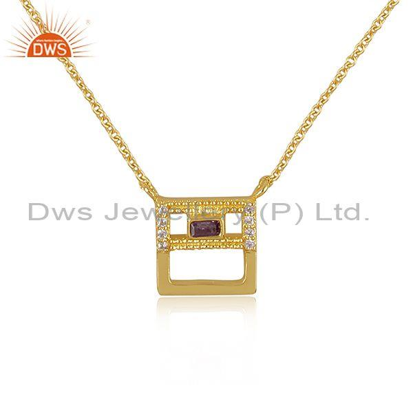Zircon amethyst and cz brass gold square pendant and chain
