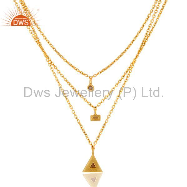Exporter Handmade 18K Gold Plated Three Line Cubic Zirconia Chain Pendant Necklace