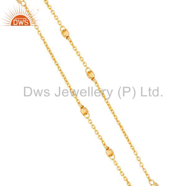 Exporter Traditional Handmade 18K Gold Plated Wide Round Cut Brass Chain Pendant Necklace