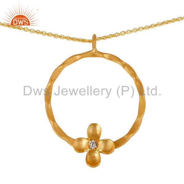 Exporter 14K Gold Plated Handmade White Zircon Little Flower Design Brass Chain Pendant