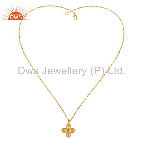 Exporter 14K Yellow Gold Plated Handmade Flower Design Brass Chain Pendant Necklace