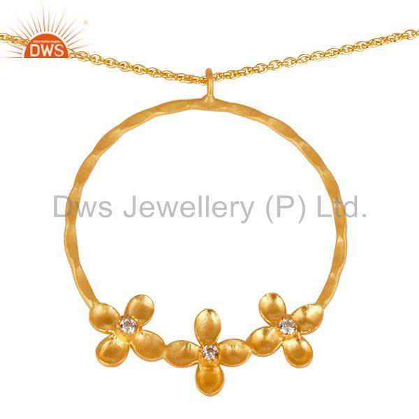 Exporter 14K Yellow Gold Plated Handmade Flower Design Wide Brass Chain Pendant Necklace