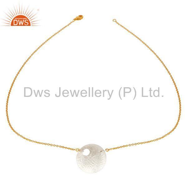 Exporter 14K Gold Plated & Silver Plated Handmade Round Disc Style Brass Chain Pendant