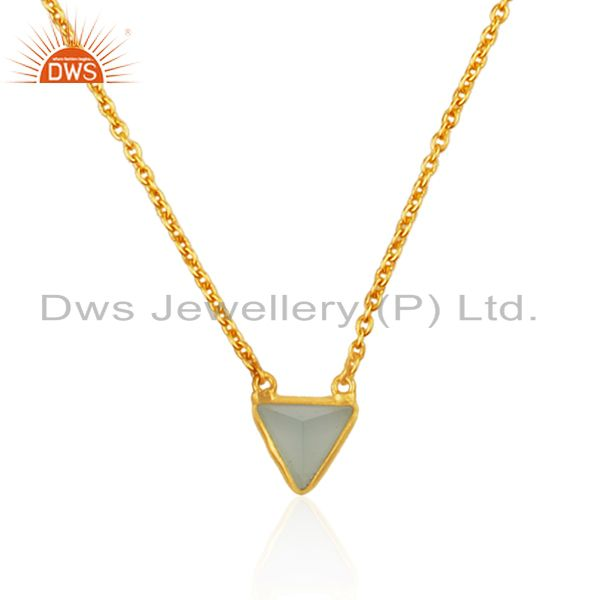Exporter 14K Yellow Gold Plated Handmade Dyed Chalcedony Bezel Set Brass Chain Pendant