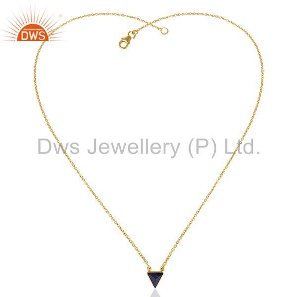 Exporter 14K Yellow Gold Plated Handmade Pyramid Design Lapis Lazuli Chain Pendant