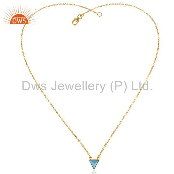 Exporter Blue Stone Trianngle Pendent 14K Gold Plated Chain Pendent