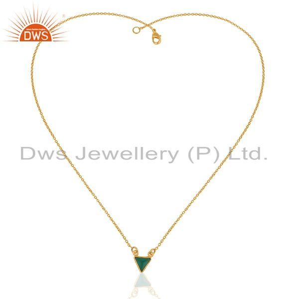 Exporter 14K Yellow Gold Plated Handmade Green Onyx Bezel Set Brass Chain Pendant