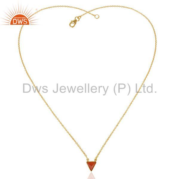 Exporter Red Stone Triangle Pendent 14 K Gold Plated Chain Pendent