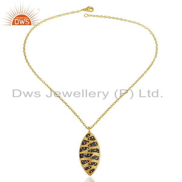 Exporter Indian Handmade Brass Fashion Gold Plated Cz Gemstone Pendant