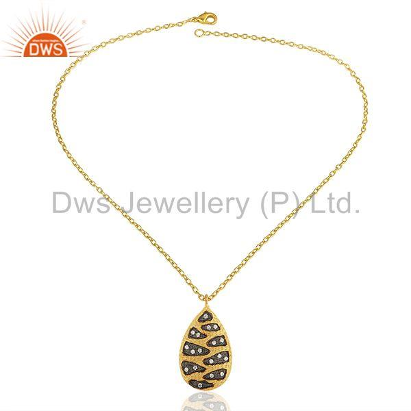 Exporter Handmade Gold Plated Brass White Zircon Fashion Chain Pendant Supplier