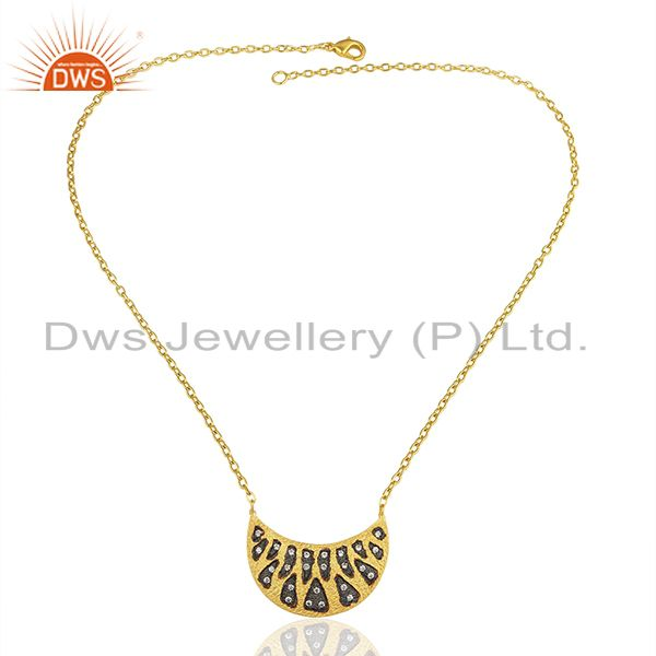 Exporter Designer Gold Plated Brass Fashion CZ Gemstone Chain Necklace jewelry