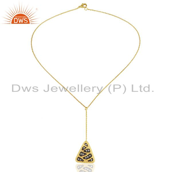 Exporter Handcrafted Brass Gold Plated Fashion White Zircon Pendant Supplier